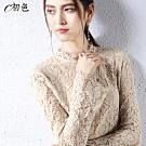 初色  睫毛蕾絲性感鏤空上衣-杏色-(M-2XL可選)