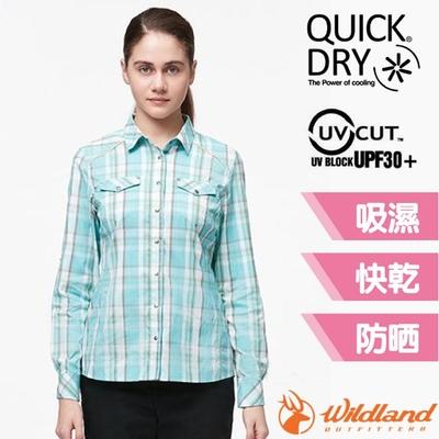 荒野 WildLand 女新款 彈性抗UV格子長袖襯衫.休閒排汗衫_湖水綠