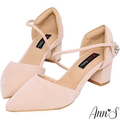 Ann'S強烈女人味-顯瘦斜帶單鑽魔鬼氈粗跟尖頭鞋-粉