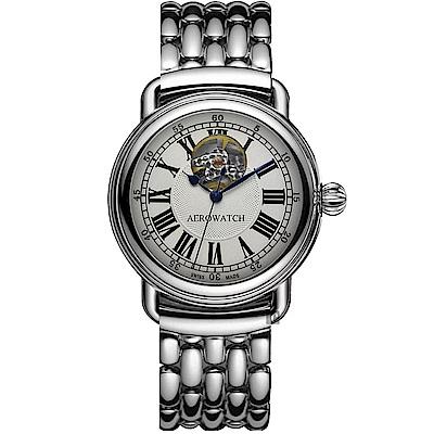 AEROWATCH 羅馬開芯鏤空視窗機械錶-銀/40mm
