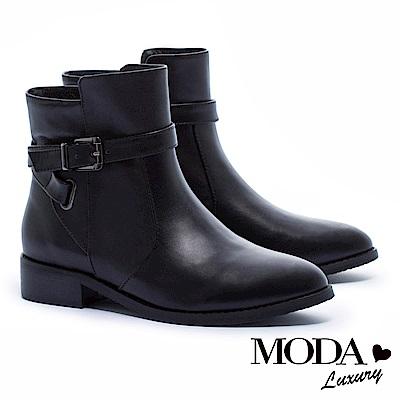 短靴 MODA Luxury 經典不敗簡約單釦環牛皮低跟短靴-黑
