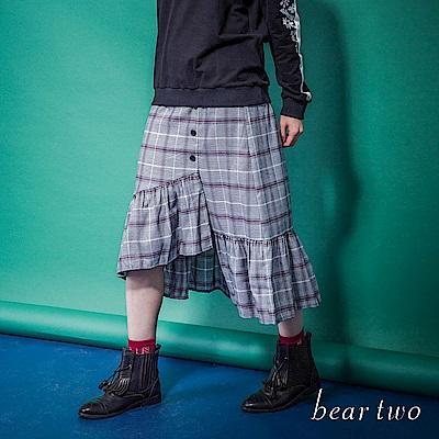 beartwo 網路限定-格紋不規則裙襬修身長裙(2色)