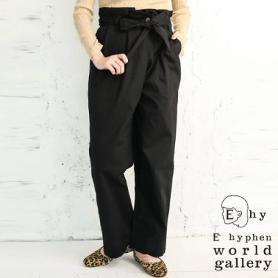E hyphen 荷葉摺邊綁帶設計高腰寬褲
