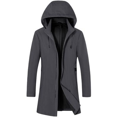 米蘭精品 風衣外套休閒大衣-連帽修身俐落中長款男外套73yw12