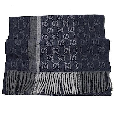 GUCCI 經典LOGO喀什米爾羊毛長型圍巾(藍灰)