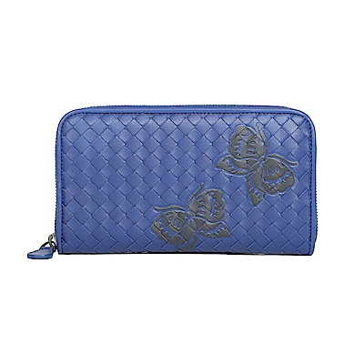 BOTTEGA VENETA 經典編織羊皮蝴蝶壓印拉鍊長夾(寶藍)