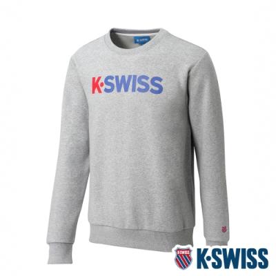 K-SWISS 2 Tone KS Logo刷毛圓領上衣-男-淺灰
