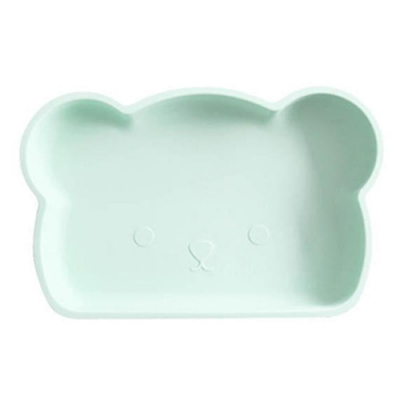 新加坡bopomofo 小熊矽膠餐盤-粉綠