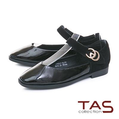 TAS金屬扣飾一字繫帶麂皮拼接娃娃鞋–經典黑