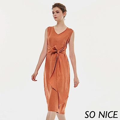 SO NICE時尚造型綁結亞麻洋裝