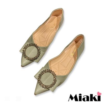 Miaki-娃娃鞋小香水鑽平底尖頭鞋-綠