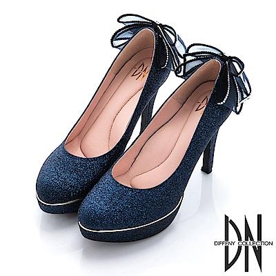 DN 閃耀星空 水鑽立體蝴蝶結新娘金蔥晚宴鞋-藍