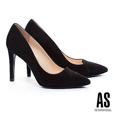 高跟鞋 AS 簡約流線V字純色麂皮美型尖頭高跟鞋-黑