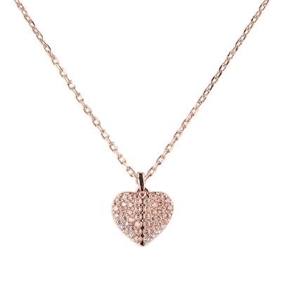 kate spade HEART TO HEART 黑桃LOGO愛心設計鑽鑲飾項鍊(玫瑰金x白)