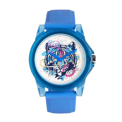 AX STREET ART系列ALEX LEHOURS潮流噴漆虎頭設計手錶-水藍