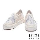 休閒鞋 HELENE SPARK 浪漫蝴蝶電繡造型紗網拼接牛皮厚底休閒鞋-米