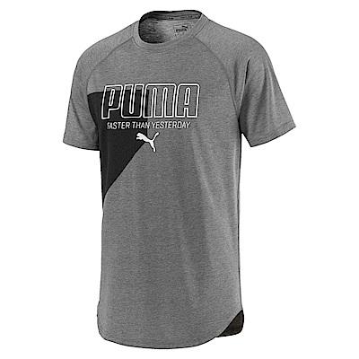 PUMA-男性慢跑系列圖樣短袖T恤-中麻花灰-歐規