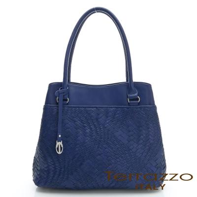 義大利Terrazzo - 全羊皮手工編織OL三隔層TOTE包-彩藍色23G4545B