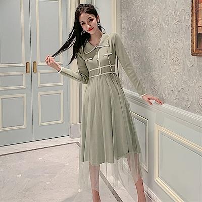 DABI 韓系收腰顯瘦網紗拼接毛衣氣質針織長袖洋裝