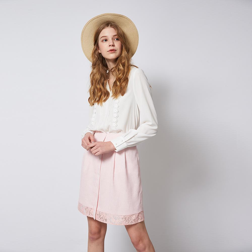 ICHE 衣哲 微甜粉嫩拼接蕾絲打褶百搭造型裙