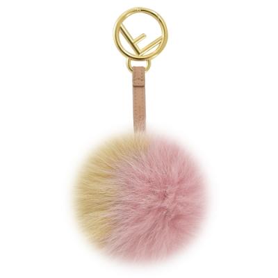 FENDI 金屬環雙色大毛球造型鑰匙圈吊飾(淺咖/粉)
