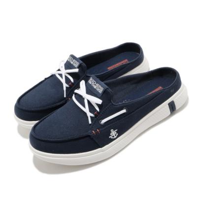 Skechers 拖鞋 Glide Ultra Sail 穆勒鞋 女鞋 瑜珈鞋墊 輕便 好穿脫 休閒鞋 藍 白 16121NVRD