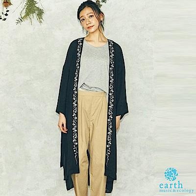 earth music 刺繡腰綁帶長版罩衫/外套