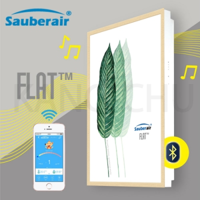 Sauberair 6-10坪 葉之拓印木框 藍芽喇叭空氣清淨機 FLAT-BT 台灣品牌 壁掛畫框式