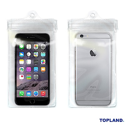 日本TOPLAND 5.5吋手機通用防水袋(透明)附掛帶