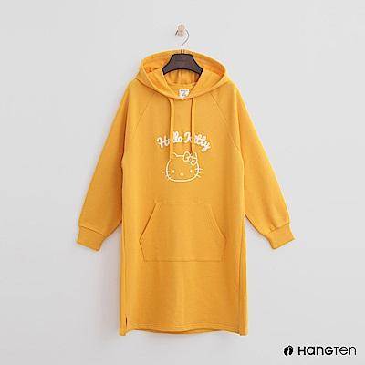 Hang Ten - 女裝 - Hello Kitty系列-立體印字長板帽T-黃