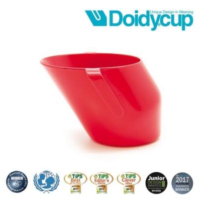 【英國Doidy cup】彩虹學習杯/訓練杯/刷牙杯-櫻桃紅(專利造型設計 喝水看的見)