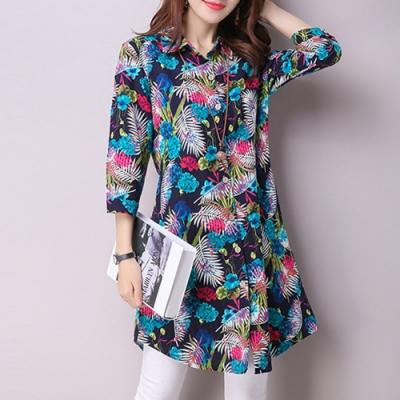 【韓國K.W.】民族風彩色花花世界印花棉麻襯衫-2色
