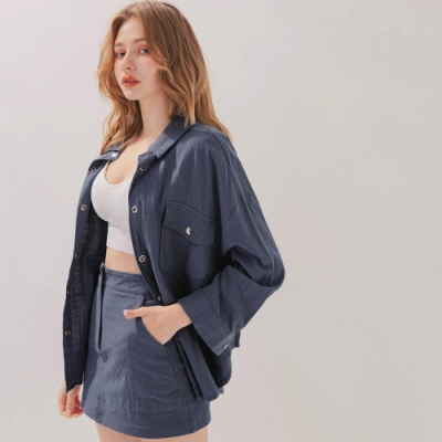 AIR SPACE 棉料排釦襯衫褲裙套裝(藍)