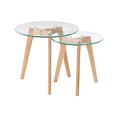 Bernice-尼可3尺圓形玻璃茶几組合(中茶几+小茶几)-90x50x45cm