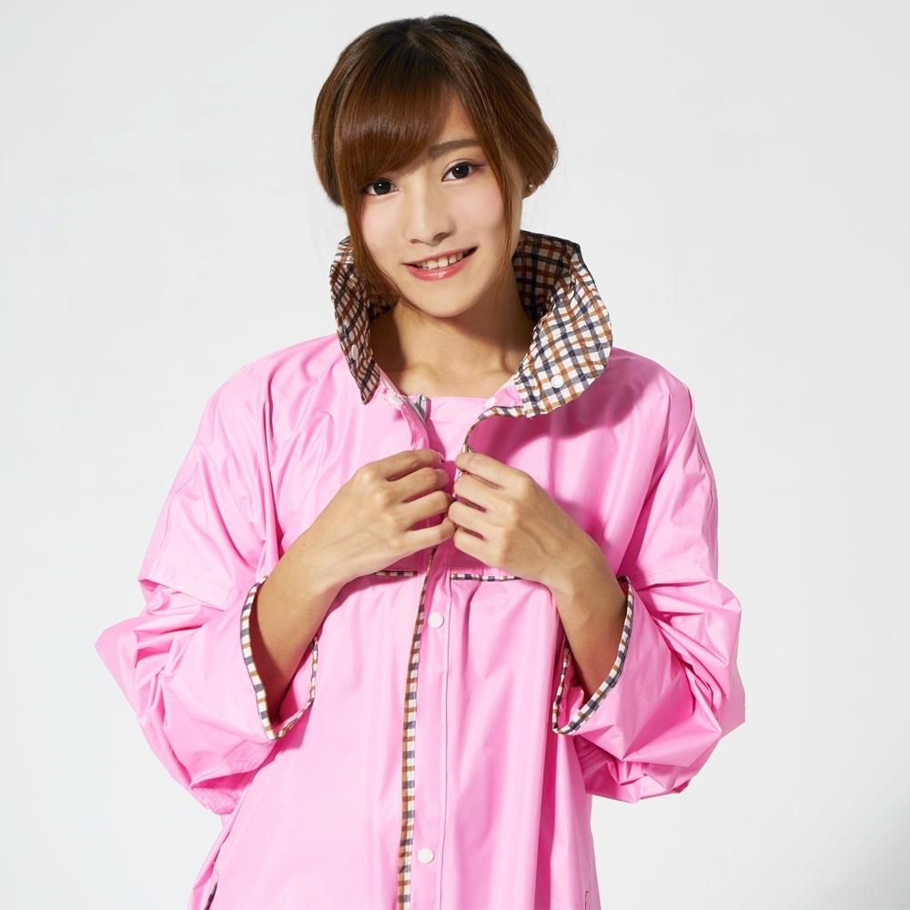 【雙龍牌】台灣素材推薦超輕量英倫時尚前開雨衣連身雨衣_粉紅色