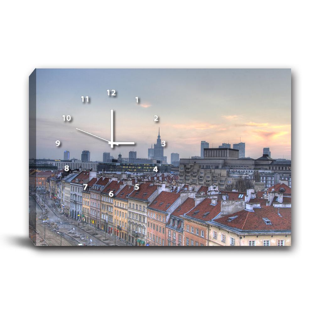 24mama掛畫-單聯式橫幅 掛鐘無框畫-城鎮-60x40cm