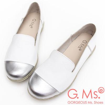 G.Ms. MIT系列-牛皮拼接樂福休閒鞋-白色