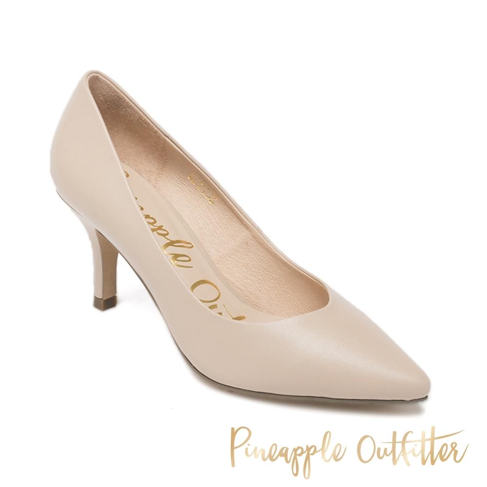 Pineapple Outfitter-VEN DENTA 優雅美型 真皮尖頭中跟鞋-粉藕色
