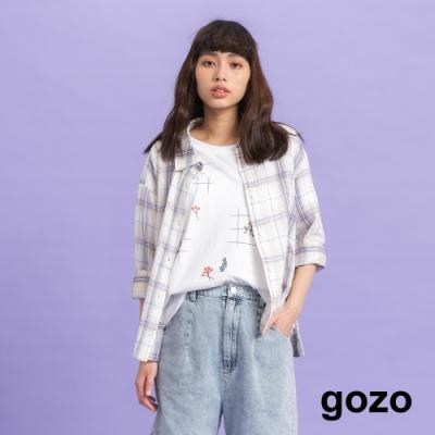 gozo-棉麻格子遮陽襯衫(二色)