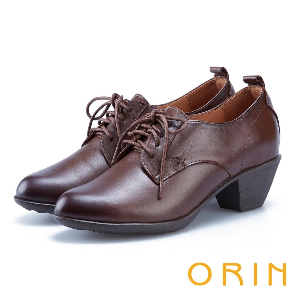 ORIN 英倫時尚 嚴選蠟感牛皮綁帶粗跟裸靴-咖啡