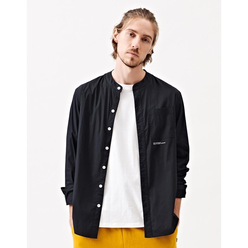 NAVY-立領口袋襯衫(二色)-男【WNA014】