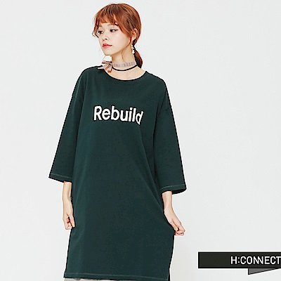 H:CONNECT 韓國品牌 女裝-正反文字側開岔洋裝-綠