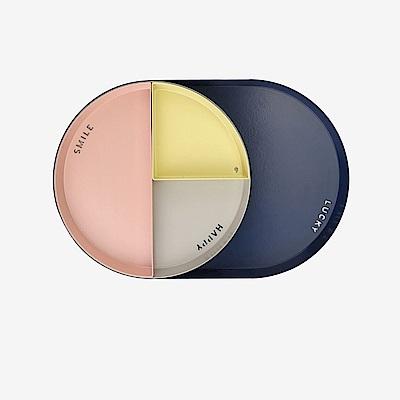 Dailylike 幾何創意桌面收納托盤圓形4入套組-01檸檬黃