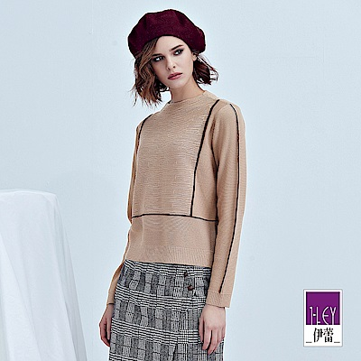 ILEY伊蕾 簡約配色織條羊毛針織上衣(粉)