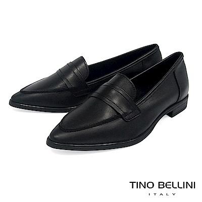 Tino Bellini 義大利進口純色簡約尖楦微跟樂福鞋 _ 黑
