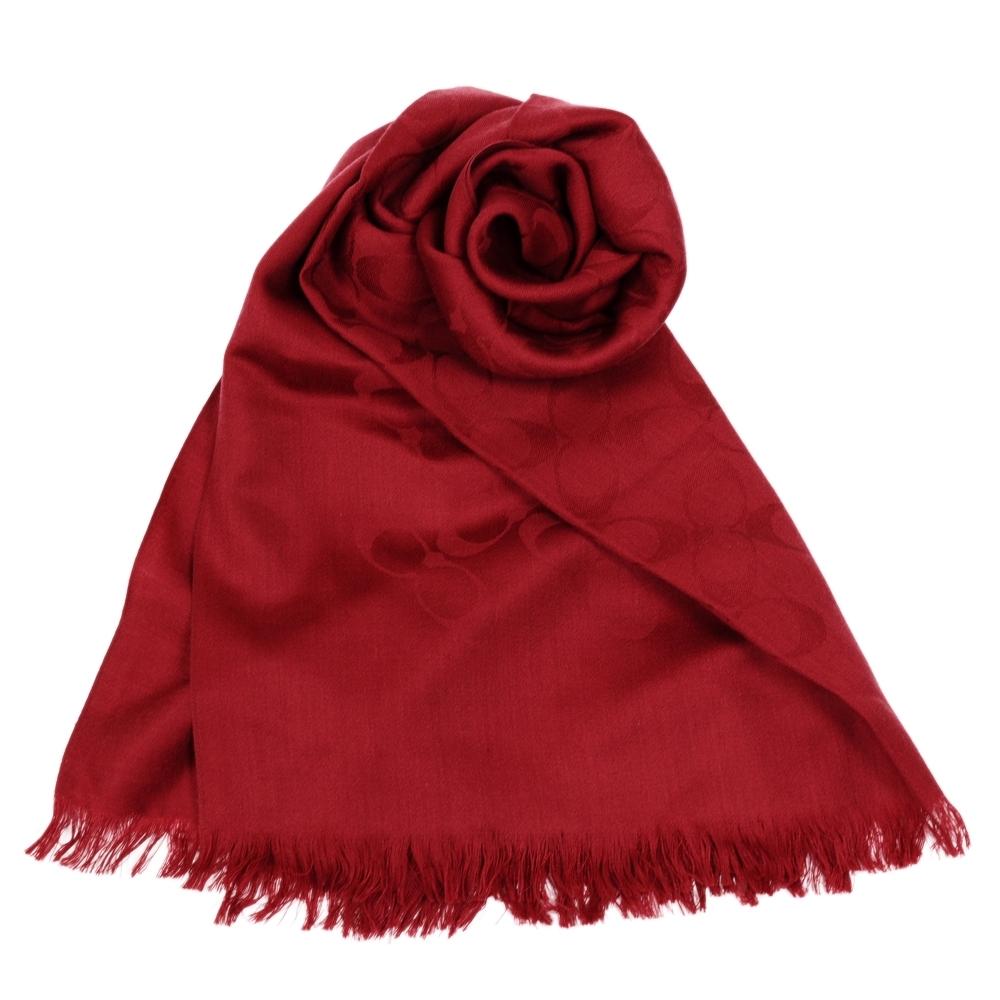 COACH 經典滿版LOGO羊毛混絲針織披肩圍巾 莫蘭迪紅