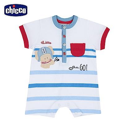 chicco-小象運動員-寬條短袖兔裝