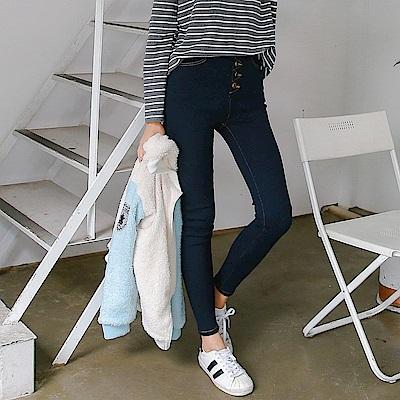 高腰造型排釦彈性斜紋修身窄管褲-OB大尺碼