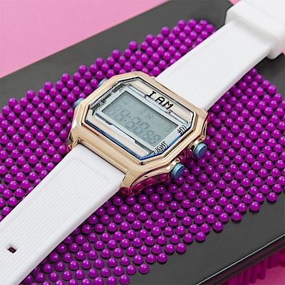 I AM 玩色新革命電子錶-玫瑰金殼藍錶盤_小(IAM-002)37x40mm