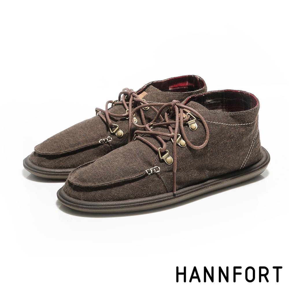 HANNFORT COZY斜紋毛呢英倫風休閒短靴-男-沙漠咖